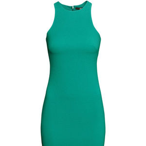 Green Textured Racerback Dress